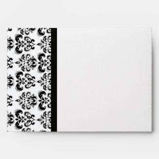 DAMASK  MONOGRAM ,black white blue sapphire Envelopes