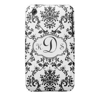 Damask Monogram Black White Ipod Case Mate Case-Mate iPhone 3 Cases