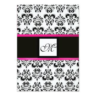 DAMASK MONOGRAM,black white, pink fuchsia violet Card