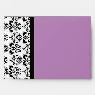 DAMASK MONOGRAM black white violet purple amethyst Envelope