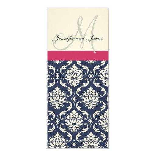 Damask Monogram Blue Pink Cream Wedding Invitation