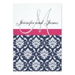 Damask Monogram Blue Pink White Wedding Invitation