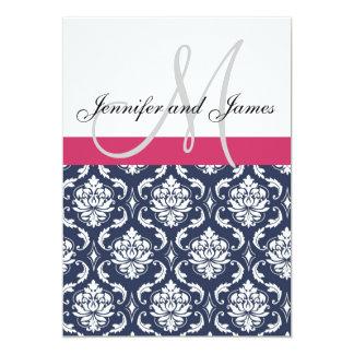 "Damask Monogram Blue Pink White Wedding Invitation 5"" X 7"" Invitation Card"