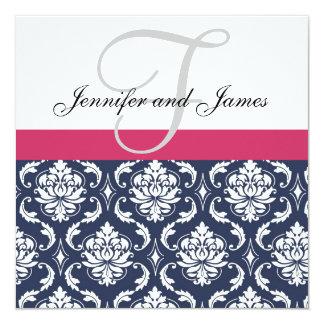 "Damask Monogram Blue Pink White Wedding Invitation 5.25"" Square Invitation Card"