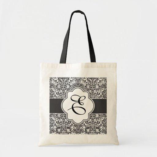 Damask Monogram Bridesmaid Tote Black Handles Canvas Bag
