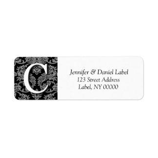 Damask Monogram C Return Address Labels