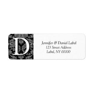 Damask Monogram D Return Address Labels