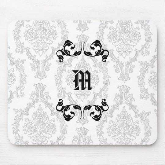 Damask Monogram Design Mouse Pad