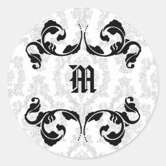 Damask Monogram Design Stickers