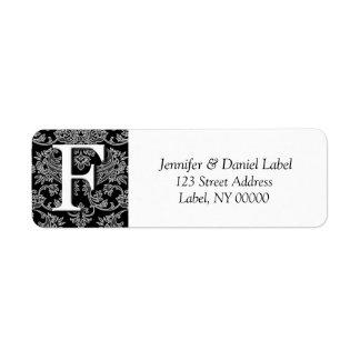 Damask Monogram F Return Address Labels