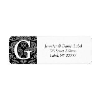 Damask Monogram G Return Address Labels