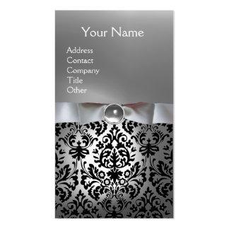 DAMASK MONOGRAM gem white ribbon black Business Card Templates