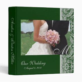 Damask Monogram Green Artistic Wedding Binder