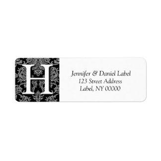 Damask Monogram H Return Address Labels