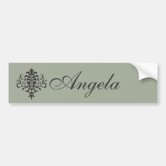 Damask Monogram in Elegant Gray and Black Bumper Sticker