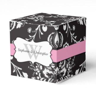 Damask Monogram in Frame Pink Ribbon Wedding Party Favor Boxes