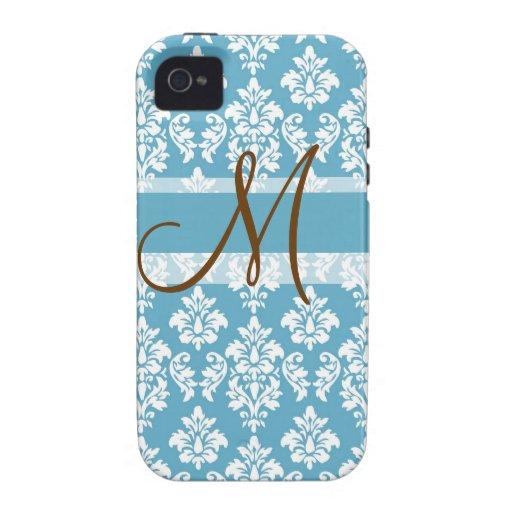 Damask Monogram iPhone 4 Casemate Blue Brown iPhone 4/4S Case