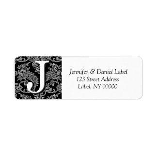 Damask Monogram J Return Address Labels