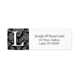 Damask Monogram K Return Address Labels