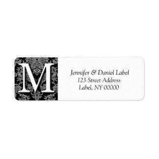 Damask Monogram M Return Address Labels