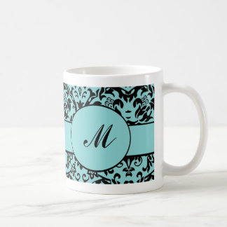 Damask Monogram Coffee Mugs