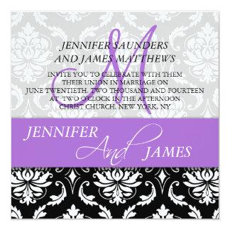 Damask Monogram Name Lavender Wedding Invitations