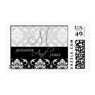 Damask Monogram Names Wedding Postage Stamps