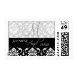 Damask Monogram Names Wedding Postage Stamps