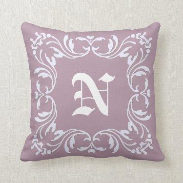 Damask Monogram on Mountbatten pink background Throw Pillow