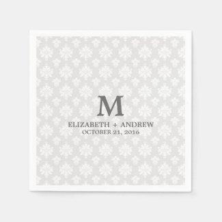 damask monogram paper napkins