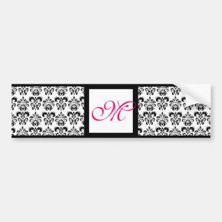 DAMASK MONOGRAM,pink fuchsia Bumper Sticker