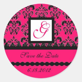 DAMASK MONOGRAM,pink fuchsia Classic Round Sticker