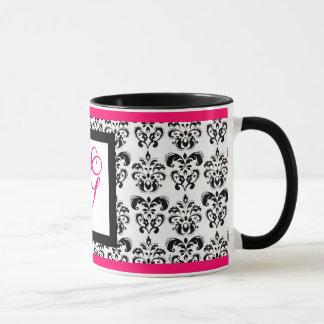 DAMASK MONOGRAM,pink fuchsia Mug
