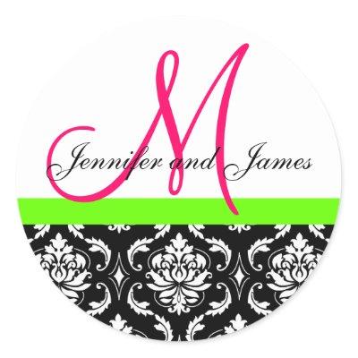 Damask Monogram Pink Green Wedding Sticker by monogramgallery