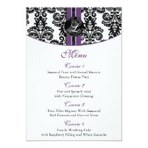 damask monogram purple wedding menu card