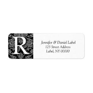 Damask Monogram R Mailing  Address Labels