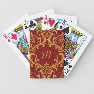 Damask Monogram (red) Bicycle Playing Cards
