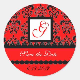 DAMASK MONOGRAM, red black white Classic Round Sticker