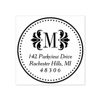 Damask Monogram | Return Address Rubber Stamp