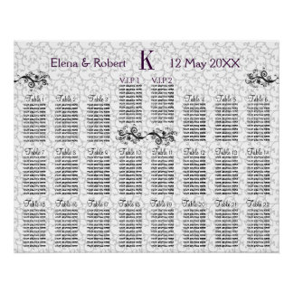 Damask Monogram Seating Chart