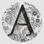 Damask Monogram Sticker - Initial A