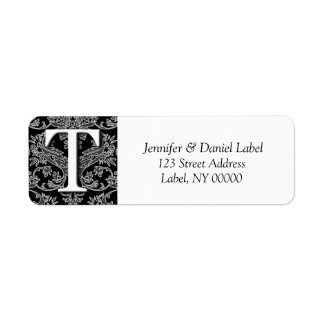 Damask Monogram T Address Shipping Labels