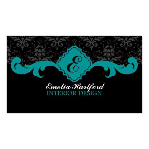 Damask Monogram Teal Business Cards