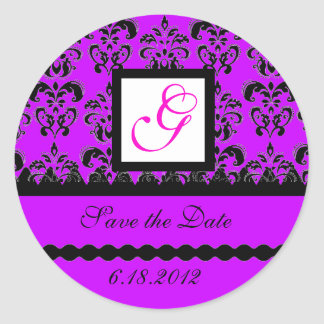 DAMASK MONOGRAM, violet fuchsia purple Classic Round Sticker