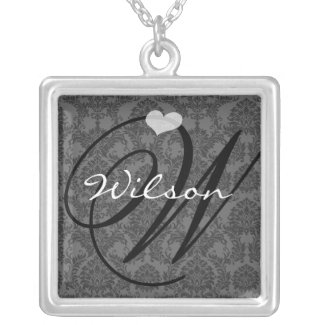 Damask Monogram Wedding Anniversary Necklace necklace