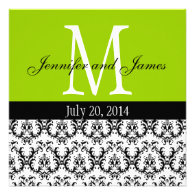 Damask Monogram Wedding Invitation Apple Green
