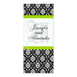 "Damask Monogram Wedding Invitation Green 4"" X 9.25"" Invitation Card"