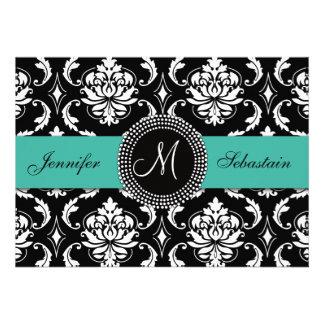 Damask Monogram Wedding Invitations Turquoise
