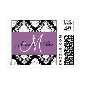 Damask Monogram Wedding Postage Stamp Purple