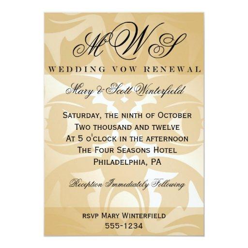 Romantic Places Renew Wedding Vows: Damask & Monogram Wedding Vow Renewal Invitations